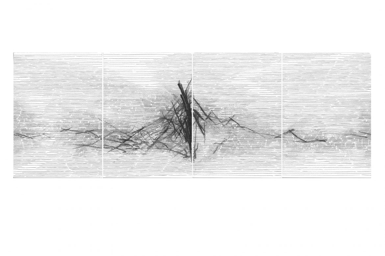 Kazuki Nakahara, o.T., 2021, Farbstift und Kohle auf Papier, 42 x 118 cm, Courtesy Galerie Rupert Pfab und Kazuki Nakahara